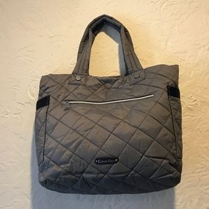 Calvin Klein Reversible Grey Quilted Nylon Tote